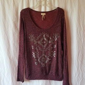 Hint burgundy metallic tribal print top size Large